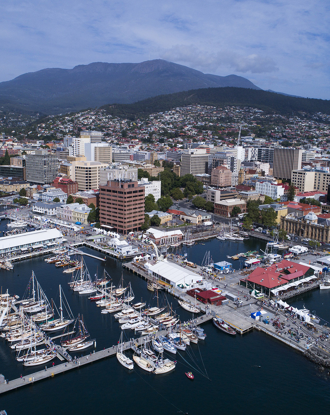 Aerial view of Hobart